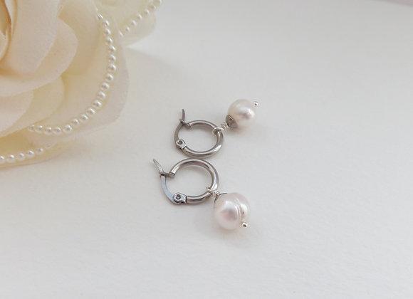 Akoya Pearl Earrings, White Real Pearl Steel Hoop Earrings.
