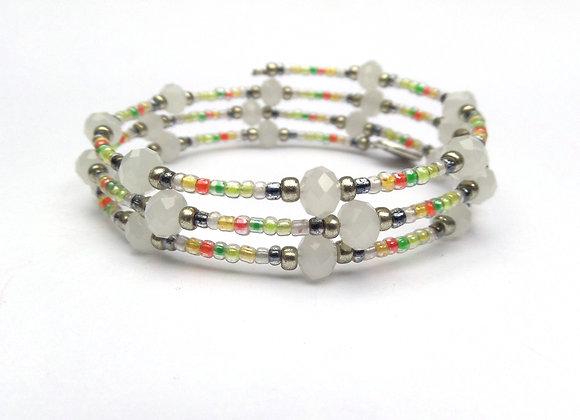 White Opal crystal, Citrus Boho Silver Bangle/Bracelet