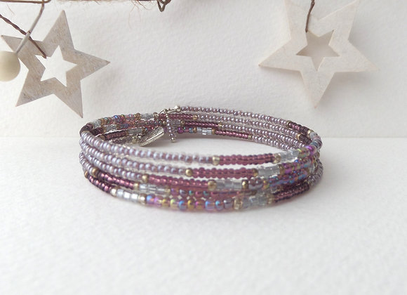 Modern Beaded Bracelet, Mauve Slim Memory Bangle