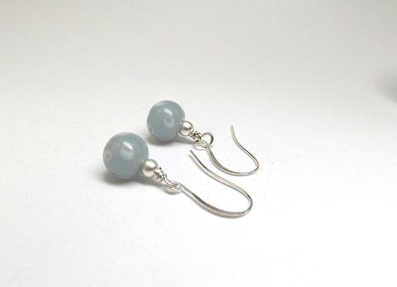 Grey Dotty Earrings, Silver Earrings.