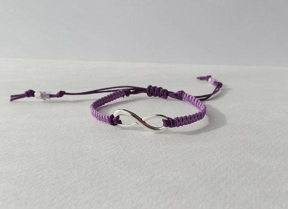 Silver Infinity Symbol Bracelet, Lilac Macramé, Purple Cord Bracelet, Adjustable