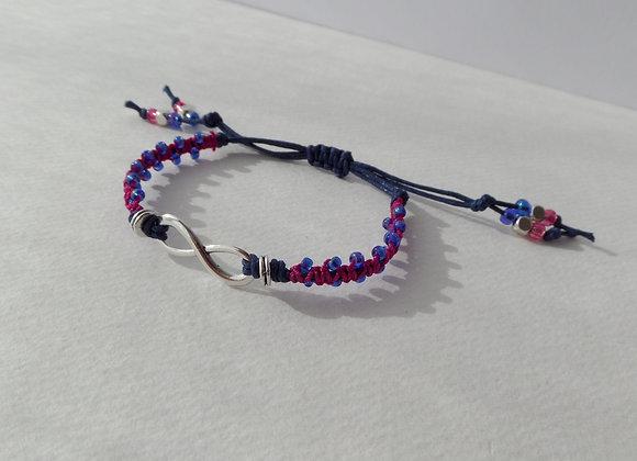 Silver Infinity Symbol Bracelet, Red Macramé, Blue Cord Bracelet, Adjustable