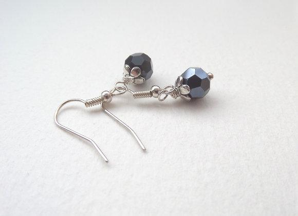 Blue Black Earrings, Gunmetal Drop Dangle Silver Earrings