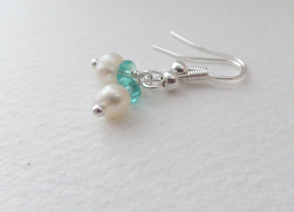 Freshwater Pearl Silver Earrings, Ivory Pearl, Pearl and Quartz