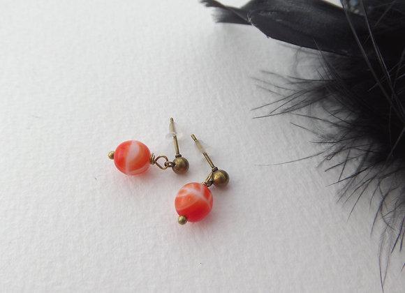 Antique Bronze Studs, Coral Orange, Round Post Drop Earrings