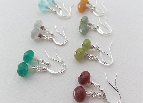 Smooth Glass Earrings, Dangle Silver Earrings