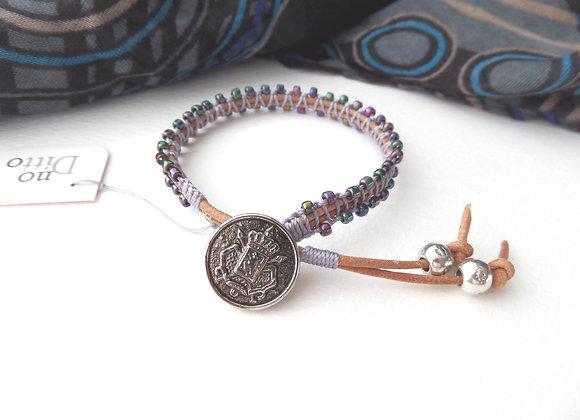 Natural Leather Bracelet, Purple macramé, Gunmetal Clasp Bracelet