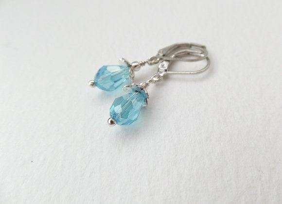 Turquoise Crystal Earrings, Crystal Dangle Silver Earrings