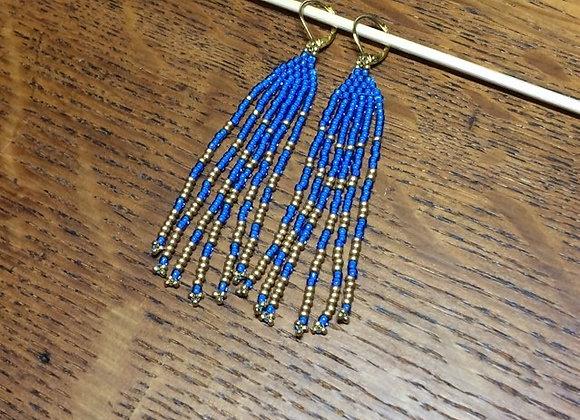 Royal blue & Gold, Beaded Fringe Gold Earrings