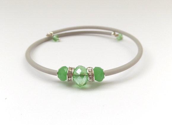 Green Crystal, Grey and Silver Bangle/Bracelet Set