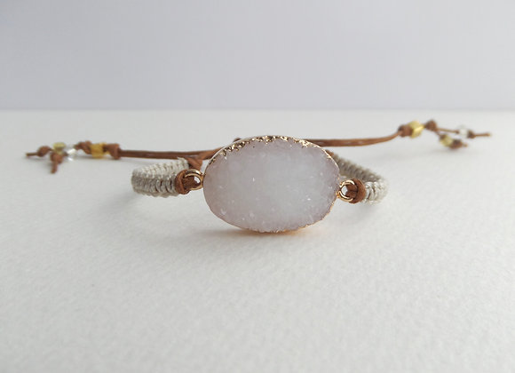 White Faux Druzy Cord Bracelet, Gold and Brown Cotton Cord Bracelet,