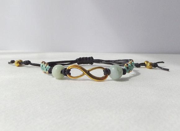 Antique Gold Infinity Symbol Bracelet, Beaded Macramé, Brown Cord Bracacelet