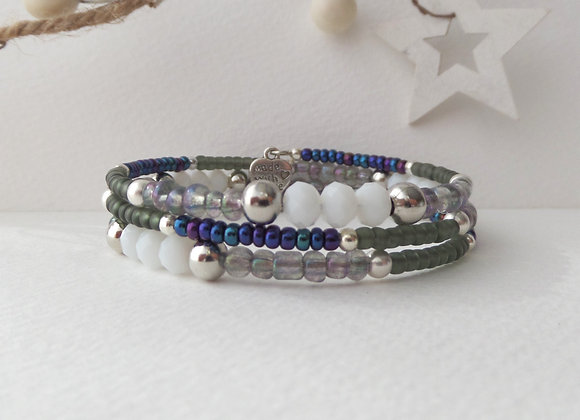 Opaque White Crystal, Blue and Grey Silver Memory Bangle
