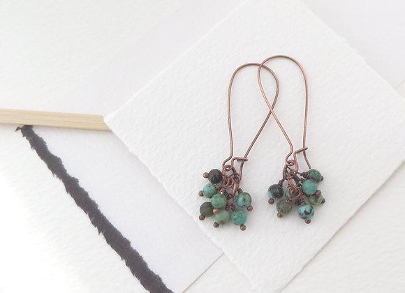 Semi Precious Antique Copper Kidney Wire Earrings