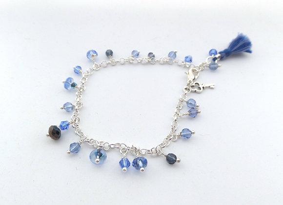 Blue Charm Bracelet, Crystal, Silk Tassel and Silver Clasp Bracelet