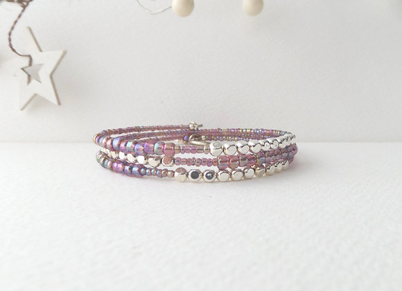 Purple beaded, Silver Cube Bangle/bracelet