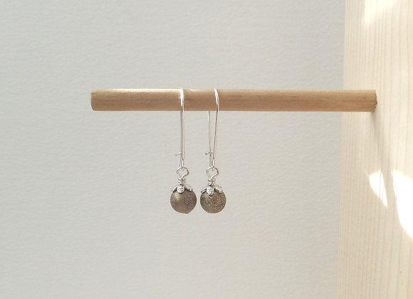 Khaki Earrings, Stardust Dangle Silver Kidney Earrings