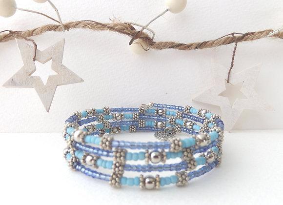 Blue and Turquoise Tibetan Silver Bangle/Bracelet