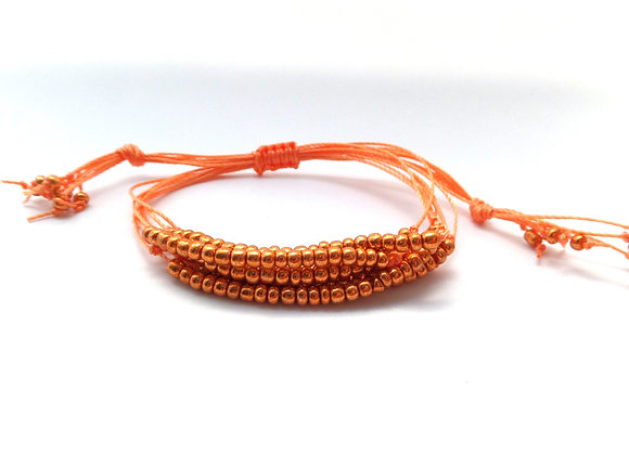 Beaded Bracelet, Cord Bracelet, Copper and Orange