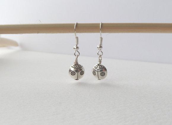 Silver Ladybird Earrings, Silver Hook Earrings