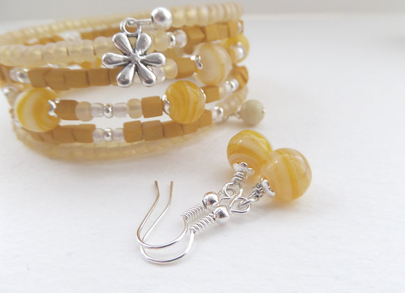 Yellow and White Silver Bangle/Bracelet Set