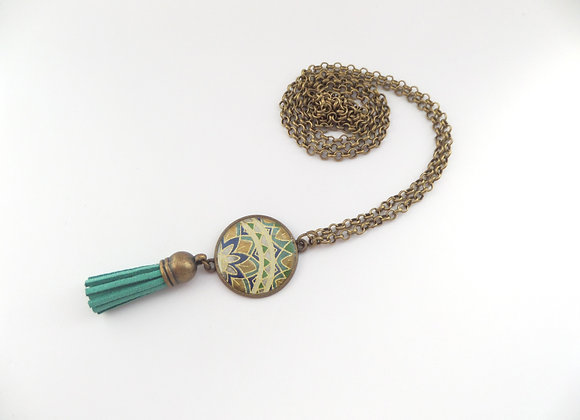 Green Tassel Bronze Floral Necklace