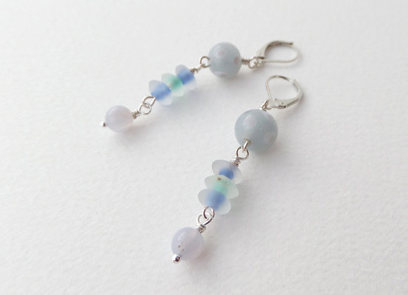 Grey, Blue and Green Long Dangle Silver Earrings