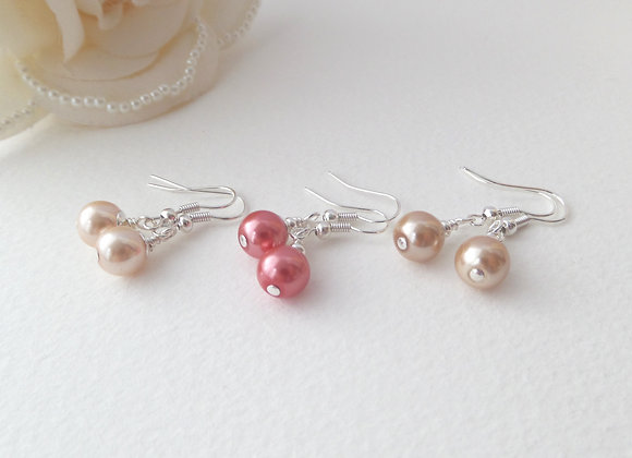 Glass Pearl Earrings, Pearl Drops, Dangle Silver Earrings