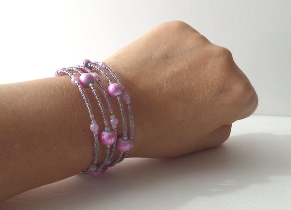 Cerise Pink and Mink Beaded Silver Memory Bangle
