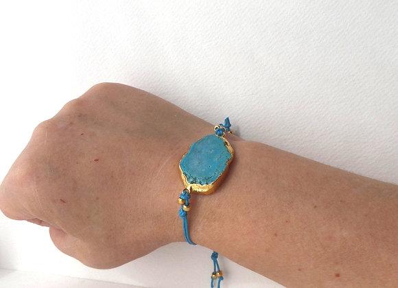 Turquoise Bracelet, Cotton Cord, Gold Bracelet.