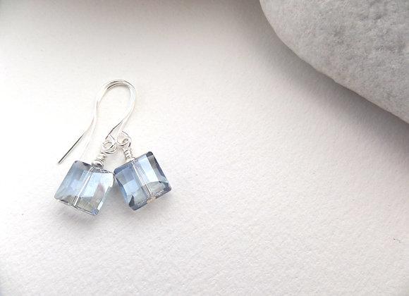 Cyan Blue Crystal Earrings, Transparent Square Blue Dangle Silver Earrings