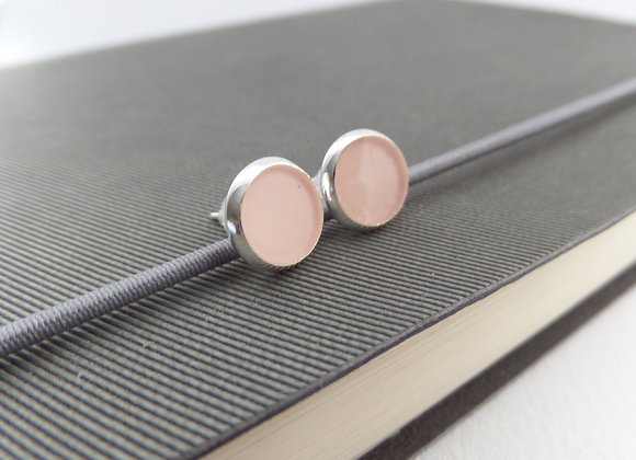 Nude Silver Studs, Small Round Stud Earrings, 8mm earrings