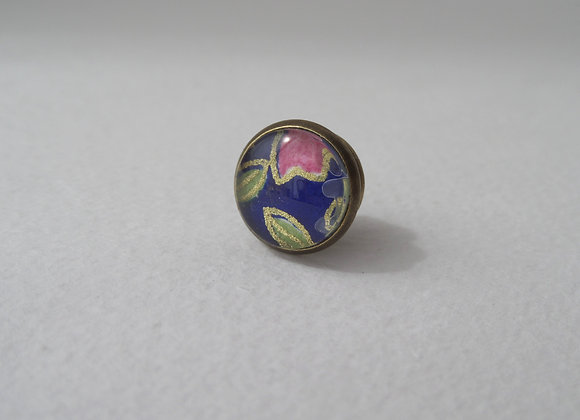 Bronze Tie Tack, Navy and Pink, Clutch back Brooch Pin, Mini Badge