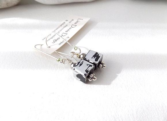 Black/Silvery Cube Earrings, Kidney Wire Dangle Silver Earrings