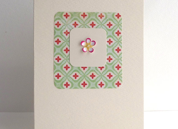 3D Flower Card, Pale Green and Pink Tiny Flower Card