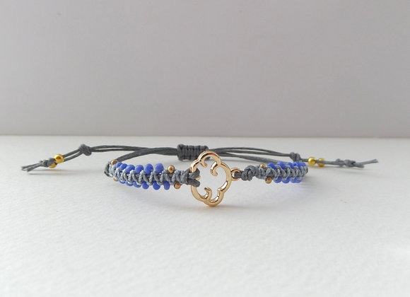 Gold Cloud Bracelet, Grey Cotton Beaded Cord Bracelet