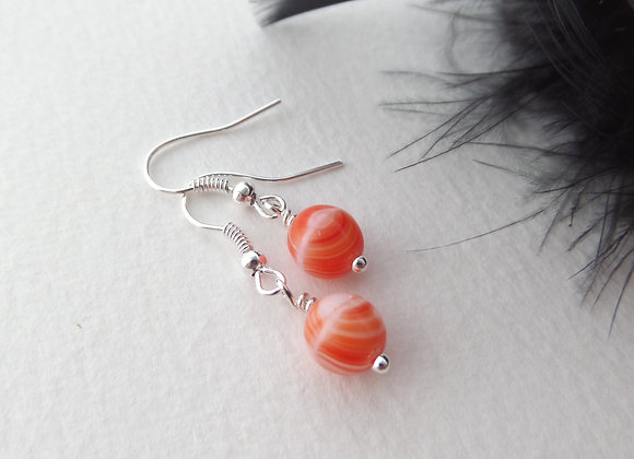 Coral Orange Silver Earrings, Dangle Silver Earrings.