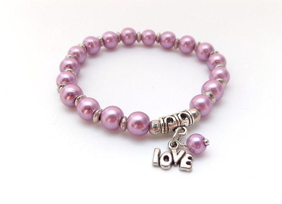 Rose Pink Stretch Bracelet, Antique Silver and Elastic Bracelet