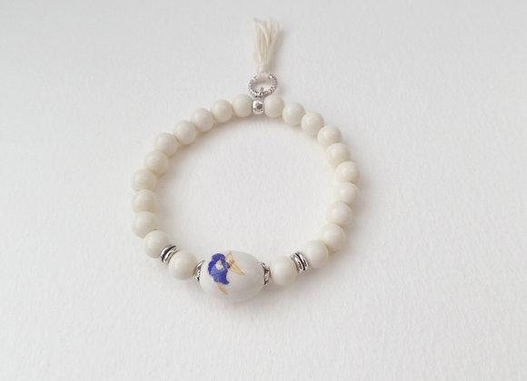 Ivory Bracelet, Antique Silver and Elastic Bracelet