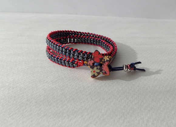 Blue-Black Beaded Wrap Bracelet, Coral Ladder, Navy Blue Cord Bracelet