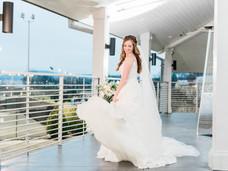 Bride on patio
