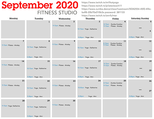 September 2020 Studio Fitness Class Sche