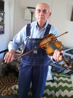 Clyde Davenport, playing my fiddle on a visit a few years back with Joseph, and Mike and Marcia Bryant.