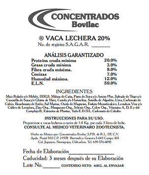 Vaca Lechera 20% Bovilac
