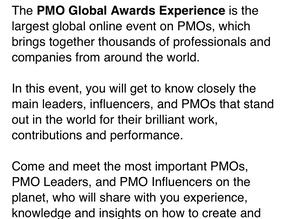 Palestra no maior evento de PMOs do Mundo: PMO Global Awards Experience 2020!
