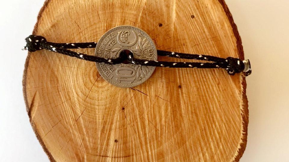 Bracelet homme noir et argenté