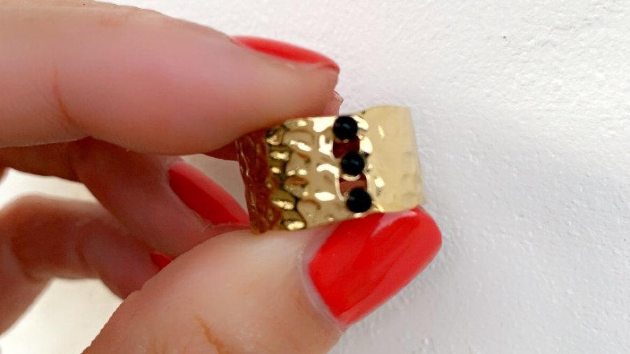 Bague acier perles noires