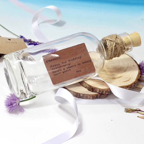 Personalised Leather Message In A Bottle