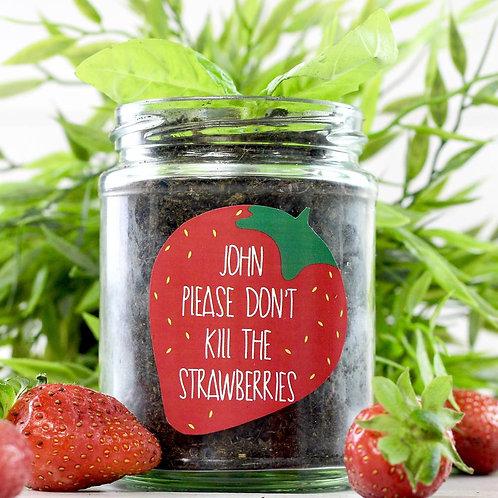 Personalised 'Don't Kill Me' Strawberry jar