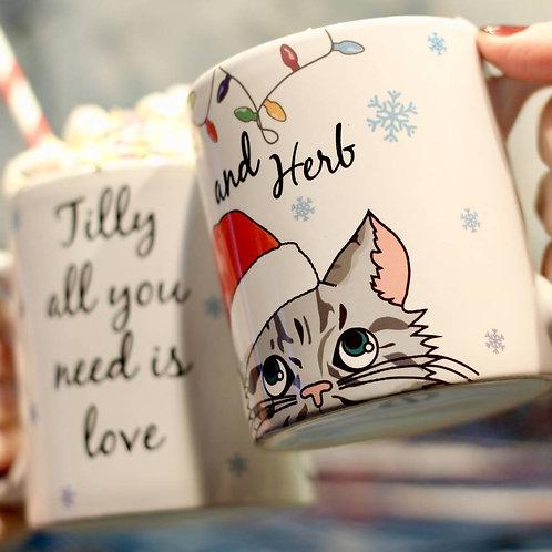 Personalised Christmas Cat Mug